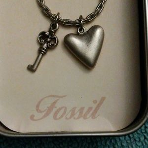Vintage 1984 Fossil Heart Necklace